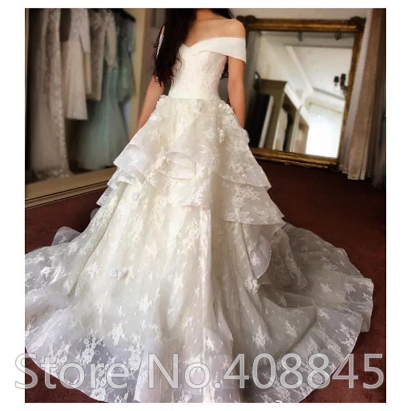 Aliexpresscom buy elegant boat neck sexy off shoulder for Cheap plus size lace wedding dresses