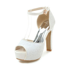 Femmes Razamaza Chaussures Peep Toe Talon Haut Épais - - 32 Eu tHWye