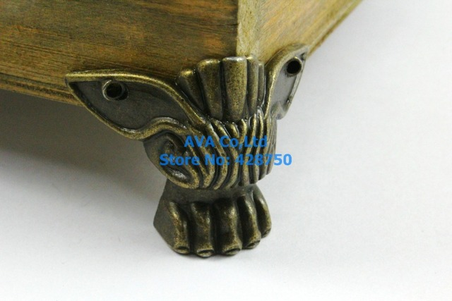 4 Pieces Antique Brass Jewelry Box Feet Animal Box Leg 47x39mm