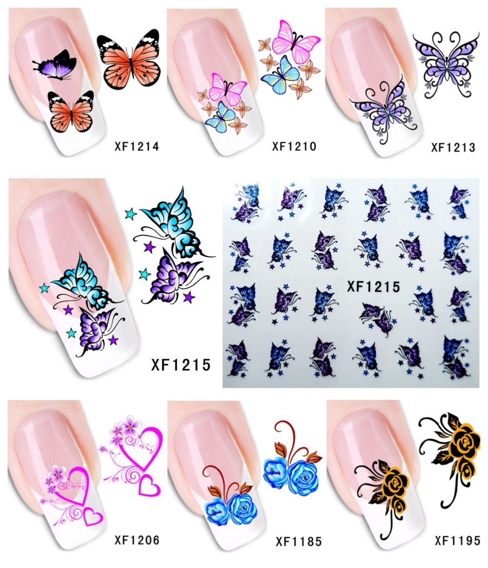 60Sheets XF1181-XF1240 Nail Art Water Tranfer Sticker Nails Beauty Wraps Foil Polish Decals Temporary Tattoos Watermark - Blingway Care products Co., Ltd. store