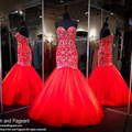 Gorgeous Red Mermaid Evening Dresses with Silver Sequins Beaded Embroidery Tulle Ruffles Lace up Prom Dresses