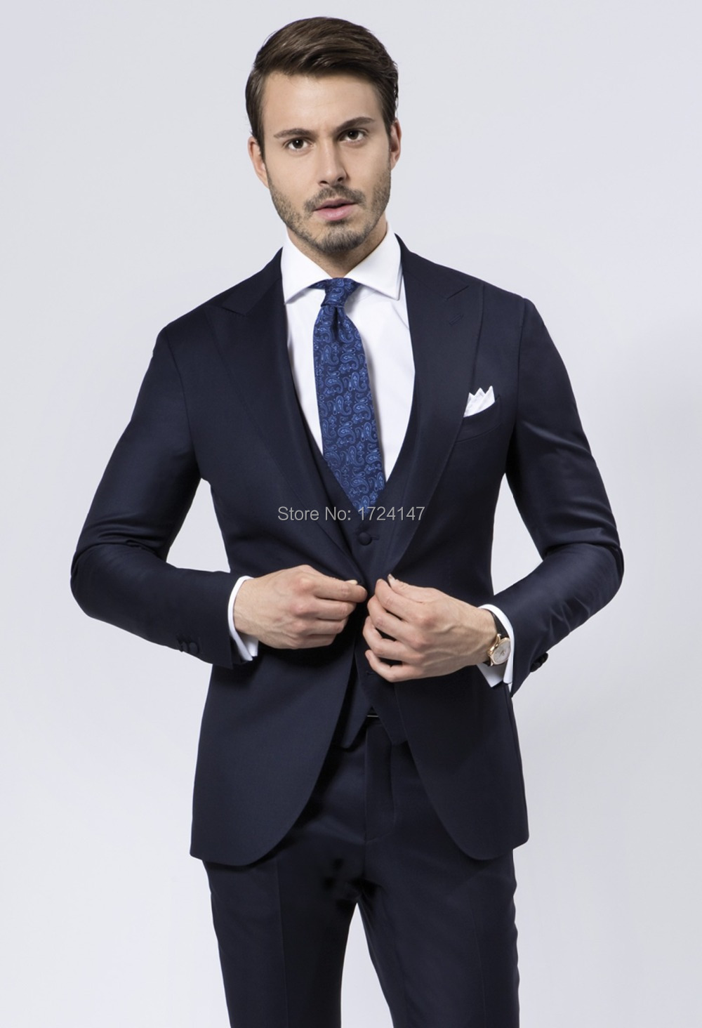 2017 Custom made Navy Blue Men wedding suits terno masculino men business dress sets(jacket+Pants+vest) - Best Suits Shopping Mall-Custom Made store