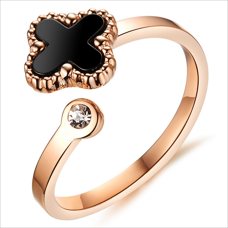 2015 New Fashion Shell Clover Ring Party Jewelry Open Fresh Design Rose Gold Plated Shiny Rhinestone Black/White GJ398 - Coolcastle store