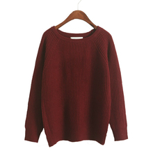 wholesale 2016 Ulzzan Korean Style Girl Loose Pullover Sweater Autumn Women Knitted Sweater Pullovers Green Gray Burgundy Blue(China (Mainland))