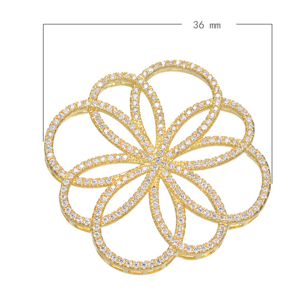 2016 Gold/Silver/Rose Gold Plating Brass Flower Jewelry Charm Transport Zircon Flower Pendant(China (Mainland))