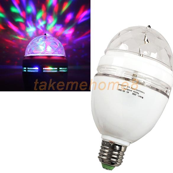 E27 Full Color Changing RGB LED Rotating Light Bulb Stage Disco DJ Lamp WORD(China (Mainland))