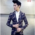 Man Suit Jacket Good Quality Winter Autumn Fashion Flowers Leaves Printing Male Single Breasted One Button