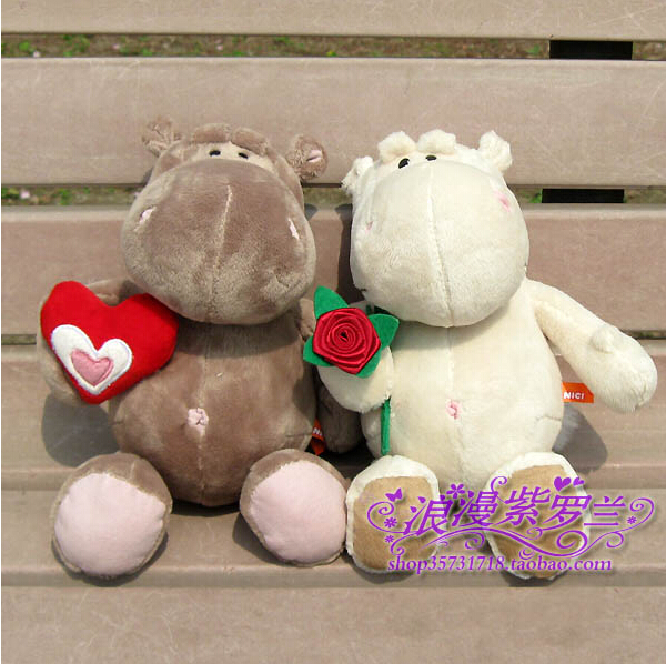 Stuffed Animals Holding Flower Couple Hippo Plush Toys Creative Gifts Large One Pair(China (Mainland))
