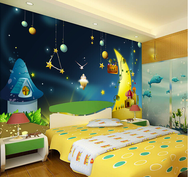 Custom papel de parede infantil cartoon stars mural for Castle mural kids room
