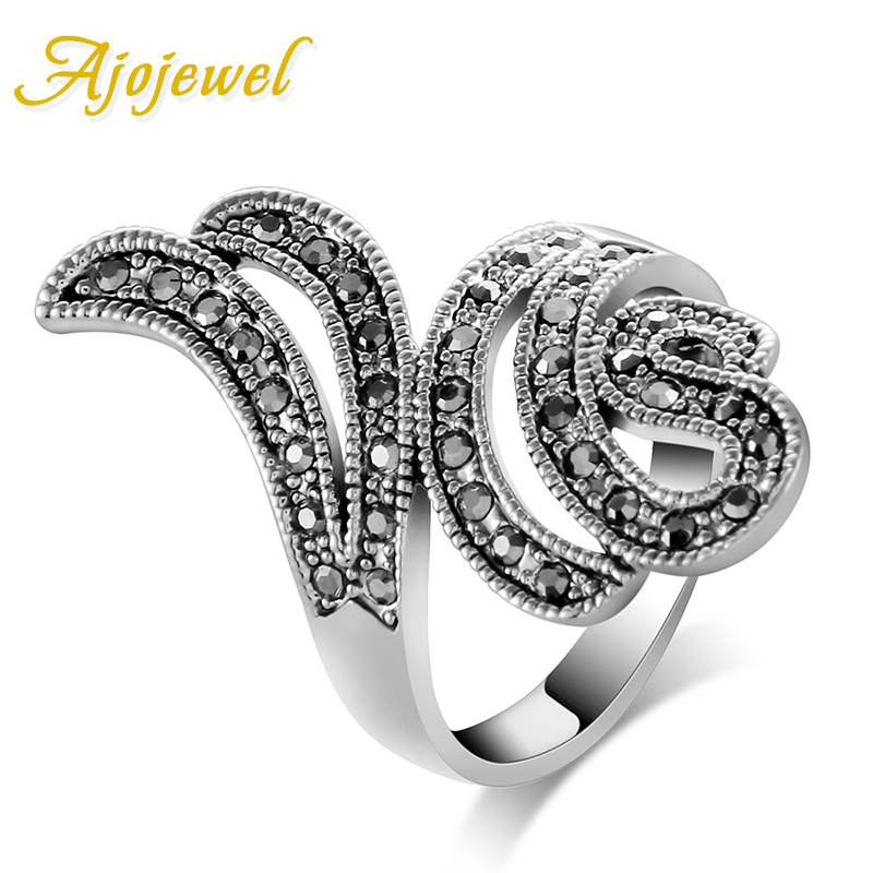 Ajojewel Brand 2016 Vintage CZ Wing Design Antique Black Ring Women Fashion Accessories(China (Mainland))