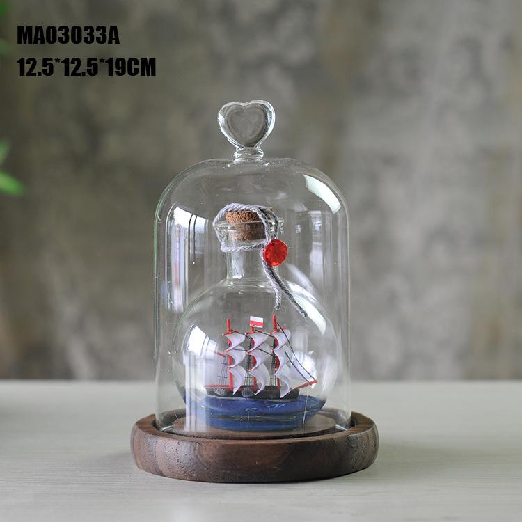Envío gratis nuevo el estilo mediterráneo vidrio transparente con una nave en It(China (Mainland))