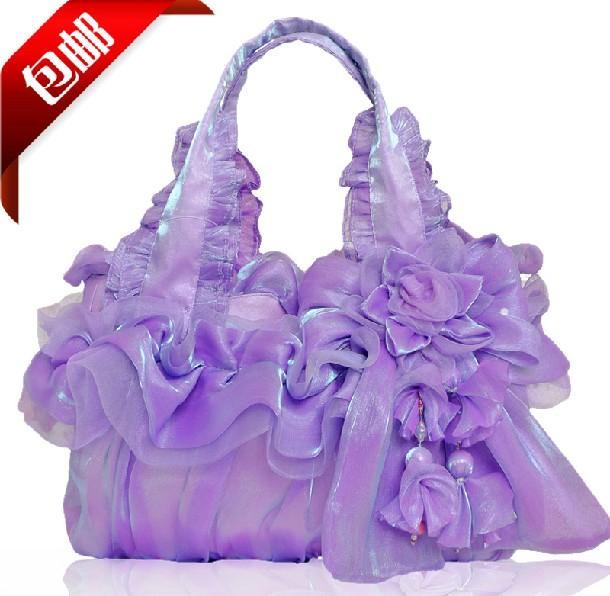 18 colors 2014 women's handbag genuine silk lace women bag portable bride purse one shoulder bags - Fashion Bags Supermarket store