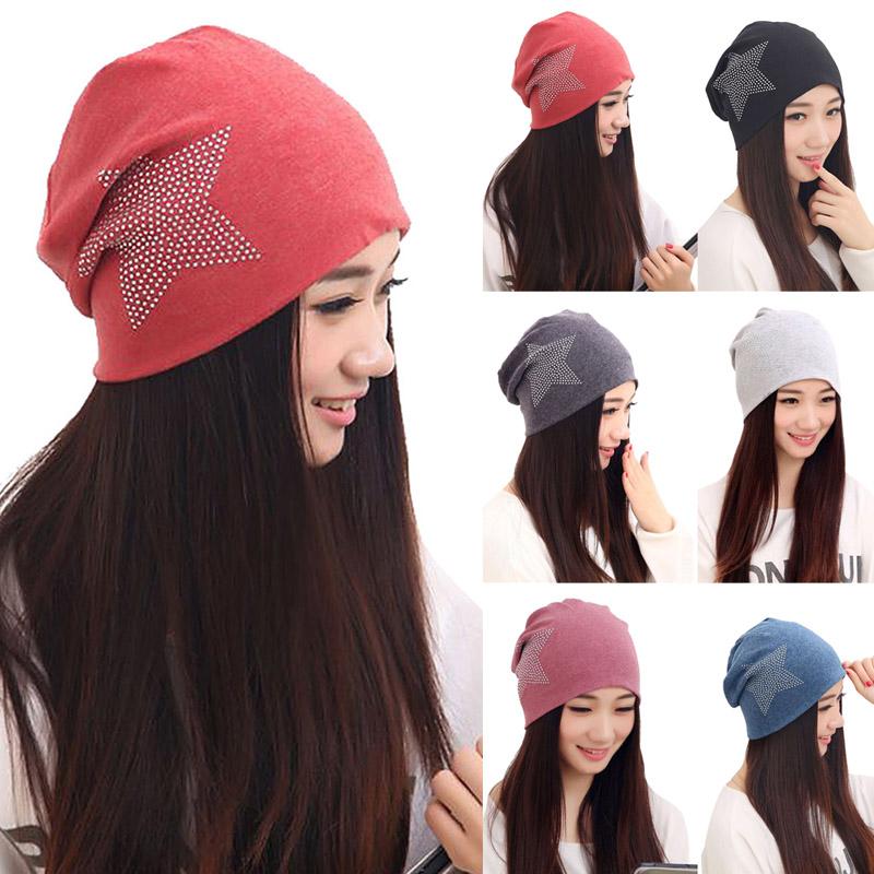 Hot Sale Fashion New Women Knit Baggy Beanie Hat Winter Warm Bronzing Star Fashion Sleeve Head Cap(China (Mainland))