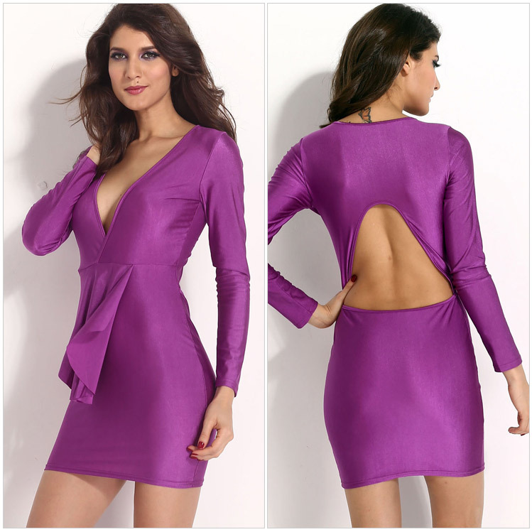 2015 New Womens Clubwear Dresses Deep V Neck Ruffles Long Sleeve Backless Cocktail Party Bodycon Mini Dress 4 Colors - dany chen's store