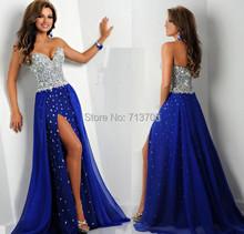 Nuovo arrivo 2016 trasporto veloce royal blue chiffon una linea in rilievo handmade di cristallo di alta fessura sexy lungo prom dresses(China (Mainland))