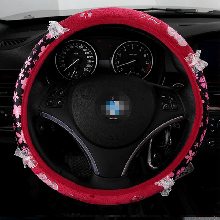 Car covers Hello kitty 38cm rose 5pcs car steering wheel cover set short girl car styling accessorie(China (Mainland))