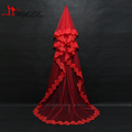 Retro Red Cathedral Long Lace Wedding Veil 2016 High Quality Tulle with Appliques Bridal Veil Real