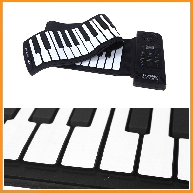 Brand New 61 Key Electronic Piano Keyboard Silicon Flexible Roll Up Piano Sustain Function USB Port with Loud Speaker(China (Mainland))