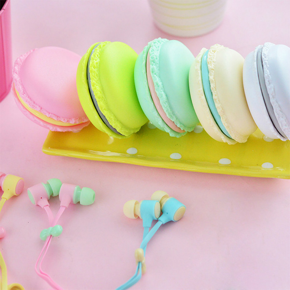 NEW Cute Macarons Design Earphone Headphone Stereo Headset Ear Phone Auriculares With Microphone For MP3/MP4 iPhone Xiaomi