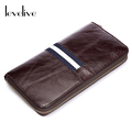 LEVELIVE Top Layer Oil Wax Genuine Leather Mens Zipper Organizer Wallets Men Clutch Wallet Cell Phone