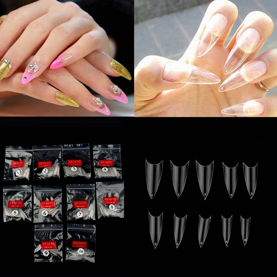 Top Quality 500Pcs Clear Transparent Acrylic UV Gel Manicures Fake False Nails Nail Art Tips Tools Worldwide Sale