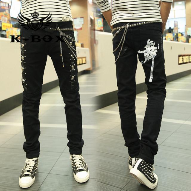 K Box 409 Большой размер панк мужчины черный кожаный лоскутное тонкие джинсы танец ...