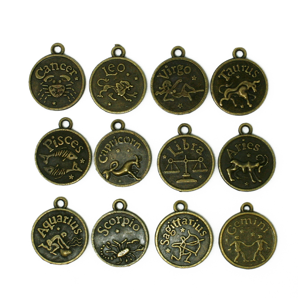 36pcs/lot Round New Assorted Constellation Signs of Zodiac Vintage Bronze Alloy Charms Pendant Fit Jewelery,YiWu CN-BJI195-77(China (Mainland))