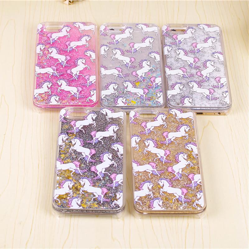 Unicorn Horse Dynamic Glitter Stars Dynamic Liquid Phone Case For iPhone 4 4S 5S SE 5C 6 6S 7 Plus Hard Protective Phone Cover