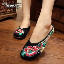 2016 summer canvas fashion ladies slippers national style retro black sexy embroidery leisure women slippers shoes for girls