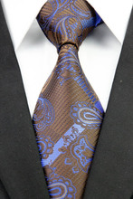 NT0248 Blue Brown Paisley Man s Classic Business Wedding Party Tie Fashion Jacquard Woven Silk Polyester