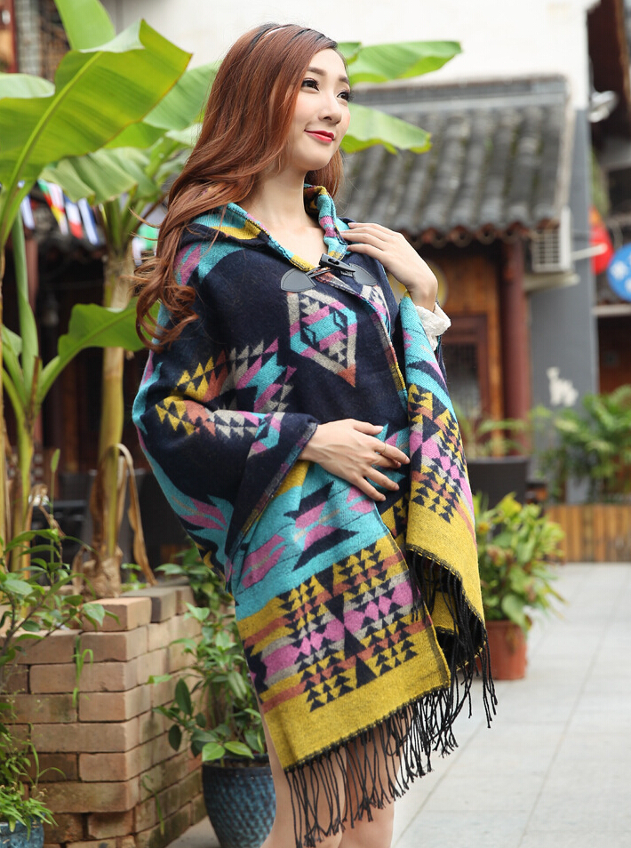 Bohemian Cape Poncho Shawl Scarf Tribal Fringe Hoodies Jacket Ethnic Warm Cardigans For Women 2015 new wool blankets cape shawl(China (Mainland))