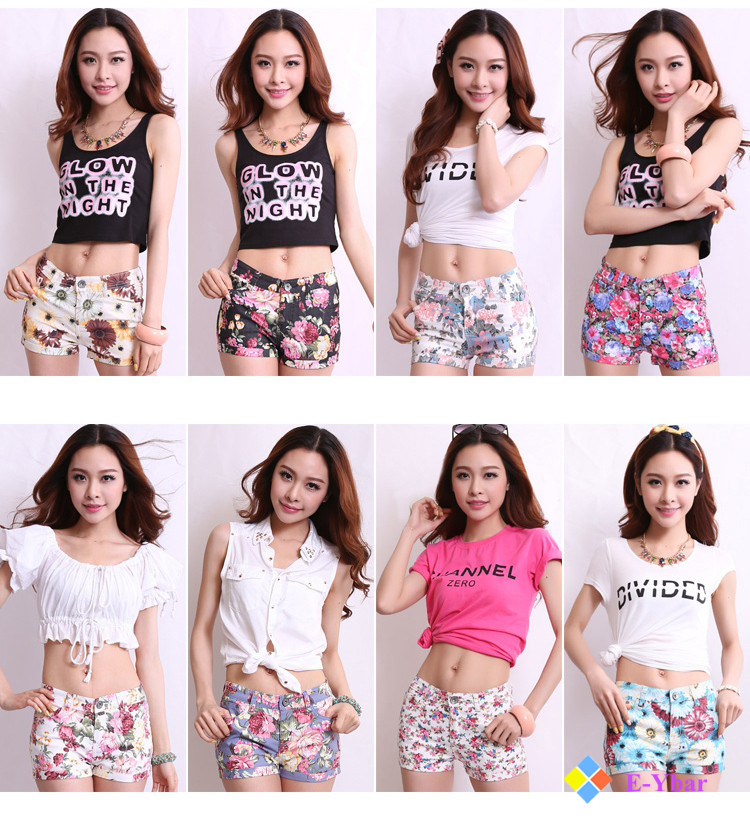 Floral Pockets Casual Leisure Candy Color Sweet Clothing Cute Cotton New Fashion 2015 Cloth Women Summer Shorts - The E-Ybar Co. Ltd store