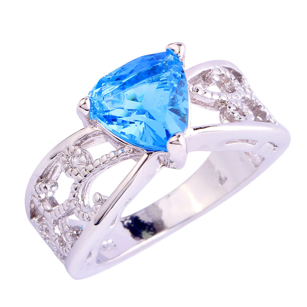 2016 s chic blue topaz silver ring size 6 7 8 9