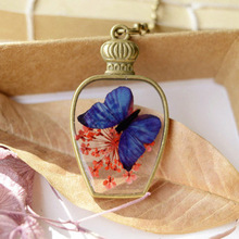 Handmade natural Flower butterfly long Necklaces & Pendants for women Vintage jewelry wholesale(China (Mainland))
