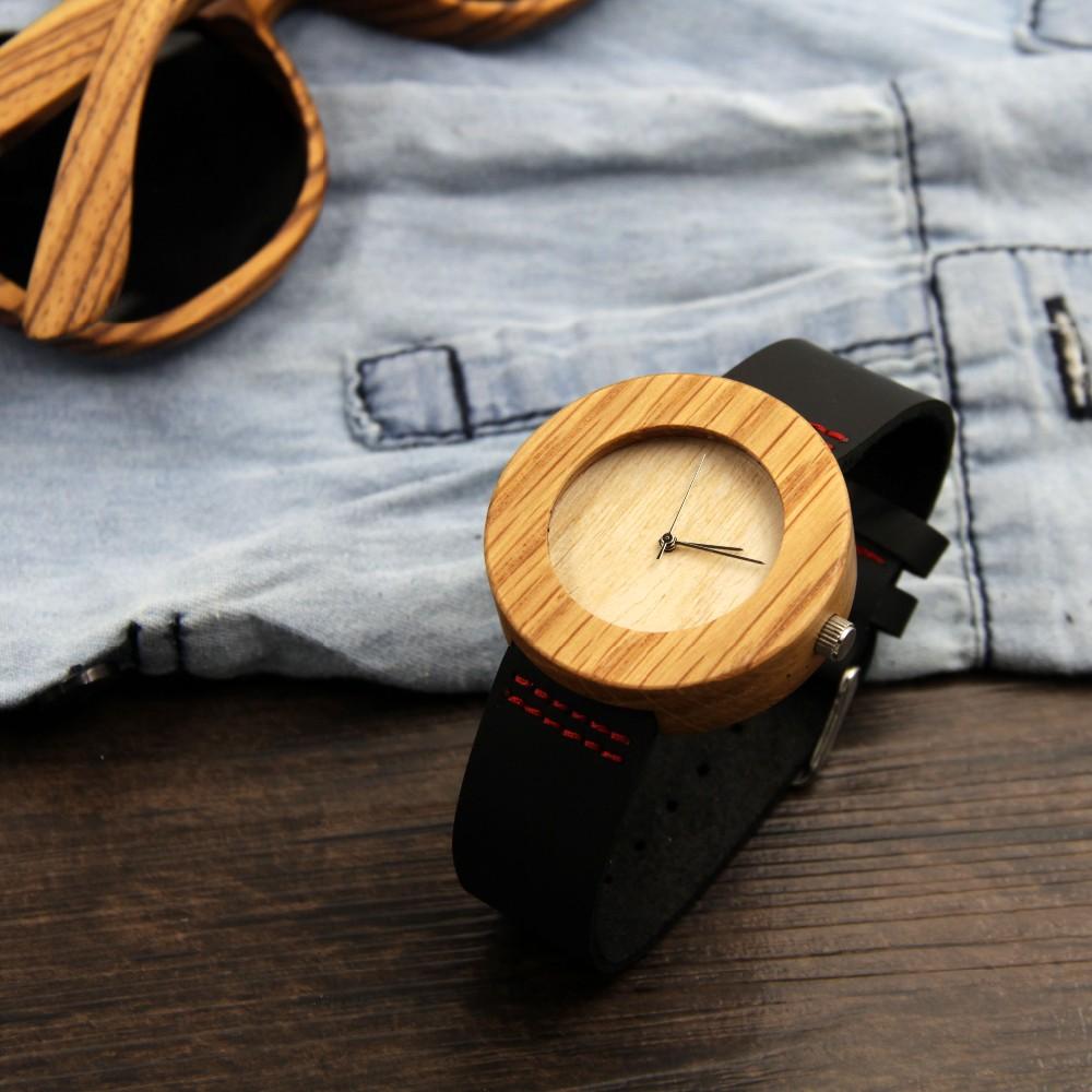 Новое поступление японский miyota 2035 движение часы красный натуральная кожа бамбук деревянные часы для мужчин и женщин Подарки к рождеству