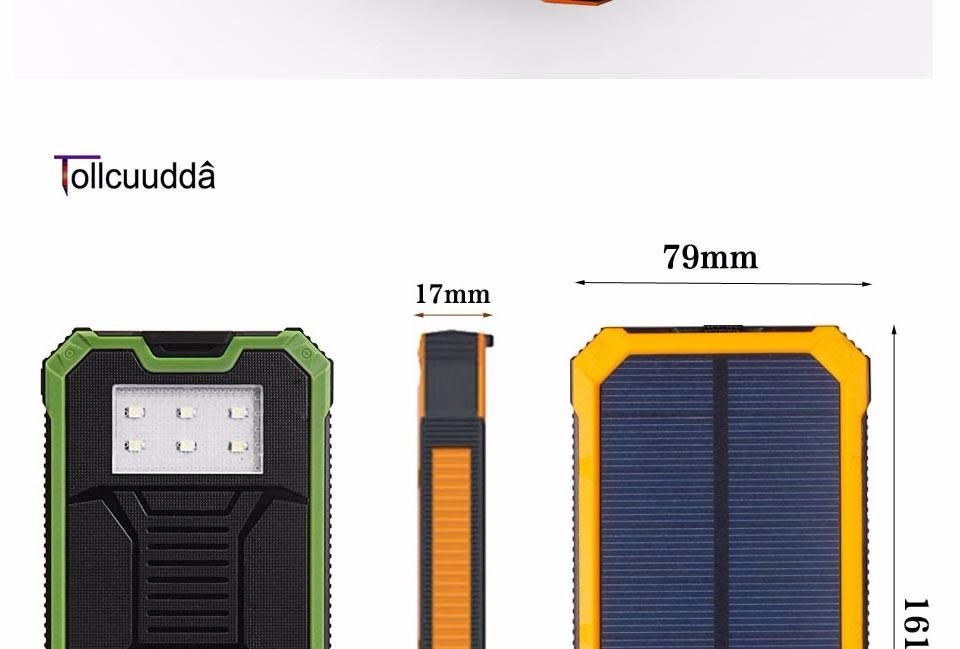 Tollcuudda Solar Poverbank Mobile Phone Power Bank Cell Pover Portable Charger Battery External Cellphone Mi Powerbank 10000mah