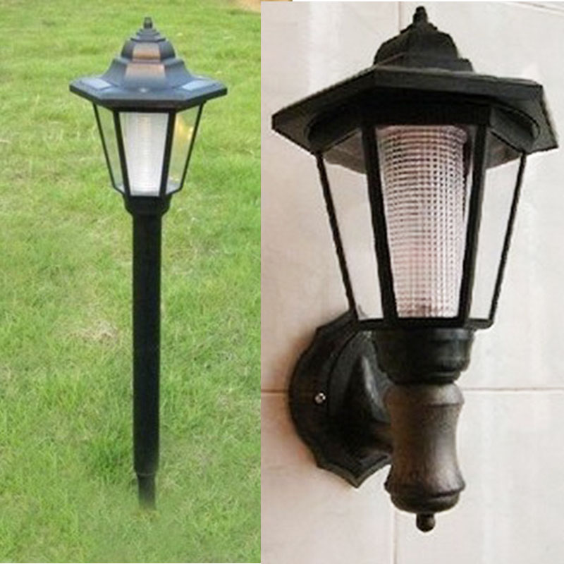 New European style hexagonal solar outdoor wall lamp IP44 waterproof LED lawn light for garden ...
