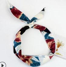 2019 головные уборы пляжные стиль резинки для волос милая девушка крест узел DIY ленты печати шифон цветок для женщин аксессуары для волос в ви...(China)