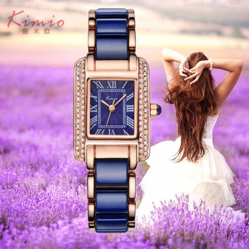 2017 New KIMIO Luxury Jewelry Ladies Quartz Watch Dress Fashion Casual Women Watches Roman Numerals Rhinestone Bracelets Watches