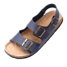 2016 Outdoor Men's Sandalias Comfort Cork Slides Summer Beach Sandals Antislip Buckle Sole Shoes Free Shipping