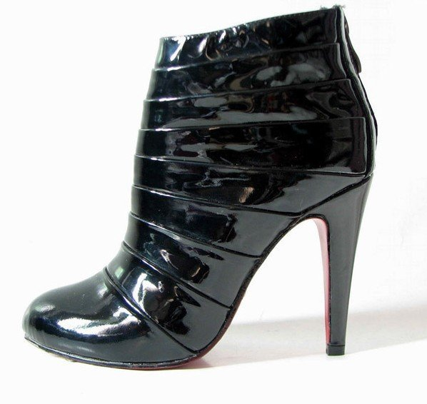 Daffodil Patent leather black folded short boots, high heel shoes women's shoes Pumps,dress shoes.wedding shoes