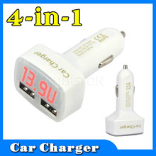 12V 24V 4 in 1 Car Charger Dual DC 5V 2A 3A USB Temperature Voltage Current
