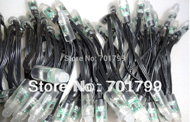 100pcs DC12V 12mm WS2811 led pixel node,with all black wire(20AWG),IP68 rated