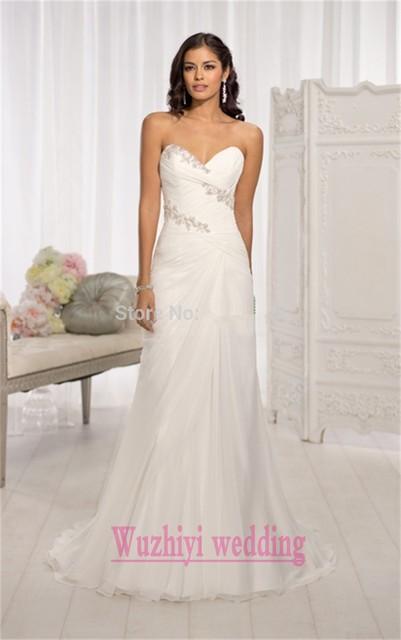 Жилетido де Noiva вышитый бисером-линии шифон милая свадебные платья 2015 под 100 ...