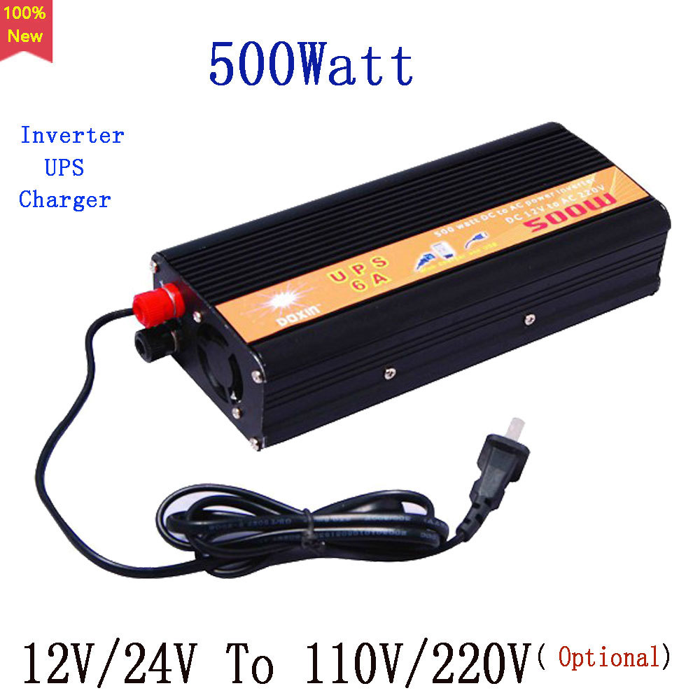 Free Shipping UPS Charger Power inverter 500W Input 12V or 24V to Output 110V or 220V 500Watt 6A Battery Charger inverter NEW<br><br>Aliexpress