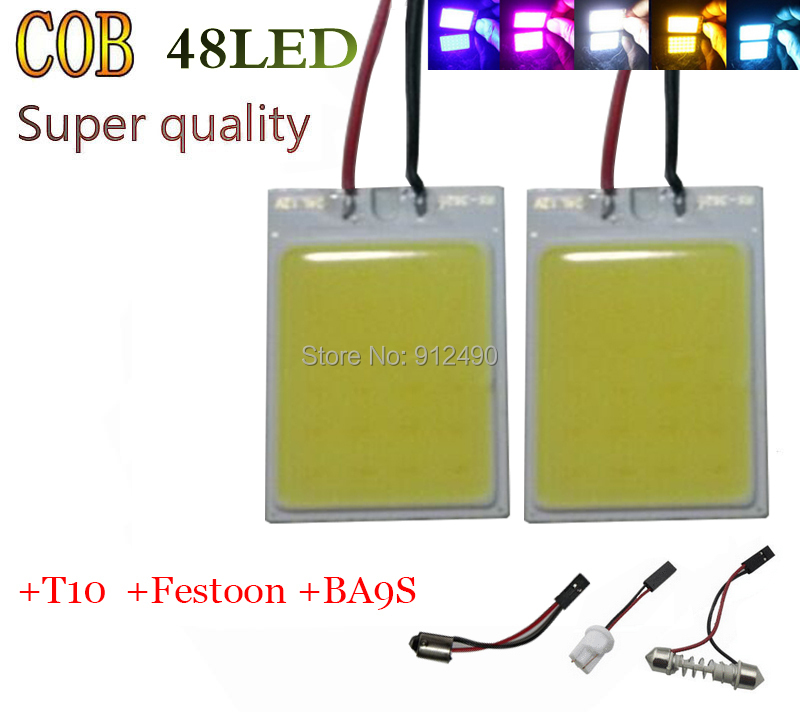 2PCS Free shipping Wholesale 8W COB Chip LED 48 led smd Car Interior Light T10 Festoon Dome Adapter 12V Panel light smd led(China (Mainland))