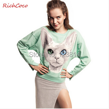 Women Casual Fashion Mint Green Hoodies Cat Pattern Zipper O-Neck Long Sleeves harajuku Loose Cotton Hoodie Pullover Blusa D116 - La Belle Boutique store