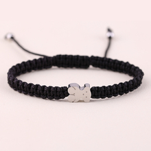 New Stainless Steel Bear Bracelet 3 color Nylon Rope Cotton Rope Chain Charm Braided Bangles For Love(China (Mainland))