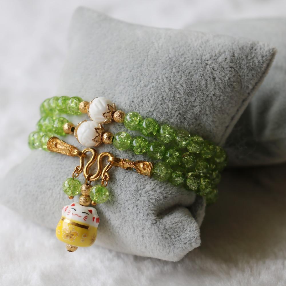 2015 (Mini Order 1) 6mm Burst Pattern Crystal Bracelets Ceramic Lucky Cat Pendant Female Bracelets Natural Stone Jewelry Making(China (Mainland))