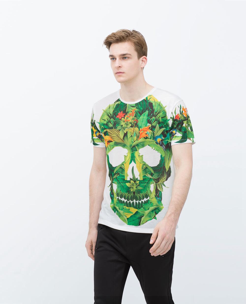 Ref 0722 436 brand designer hot za 2015 summer new tshirt for Zara mens floral shirt